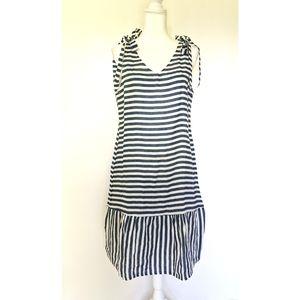 NEW Francesca Bettini striped linen midi dress